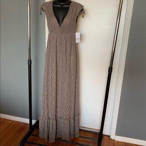 ❤️Ella Moss❤️tan/beige crochet maxi dress
